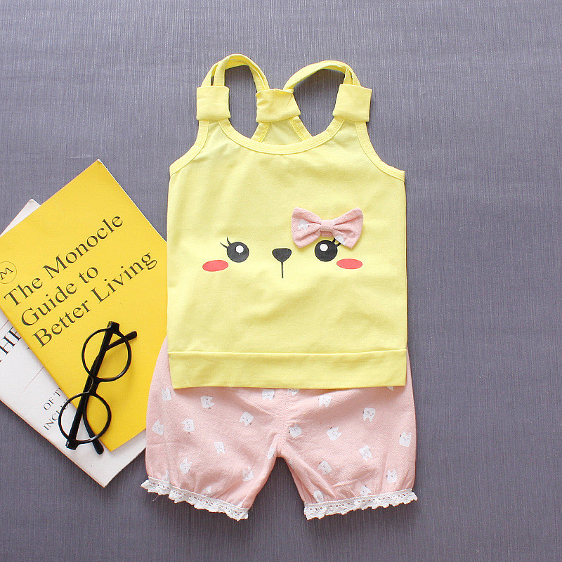 2pcs Baby Girl Clothes Summer 2018 New Cotton Baby Girl Clothing Set with Bow Caretoon Children Girls Clothes Kids Clothing