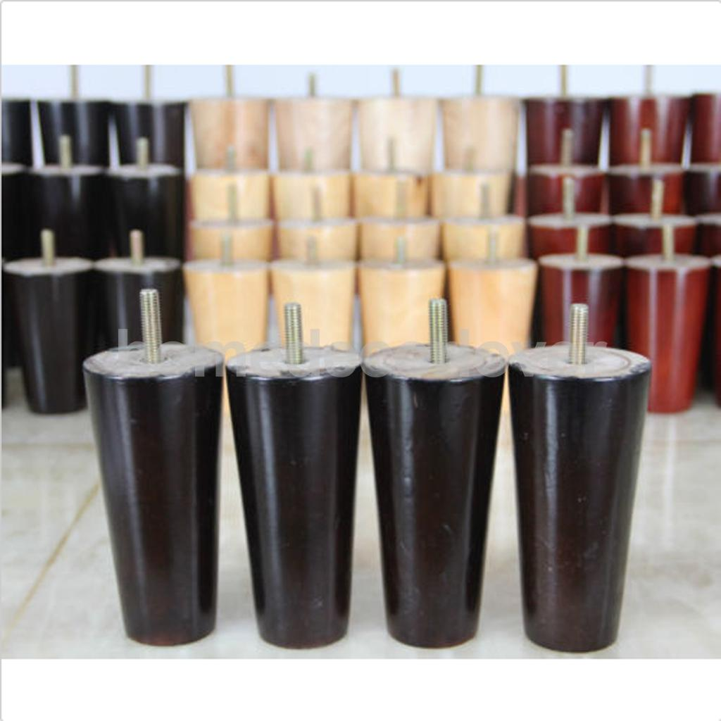 Image 5 - 4Pcs 5inch Height Cone Shape Eucalyptus Solid Wood Furniture Sofa Legs Black-in Furniture Legs from Furniture