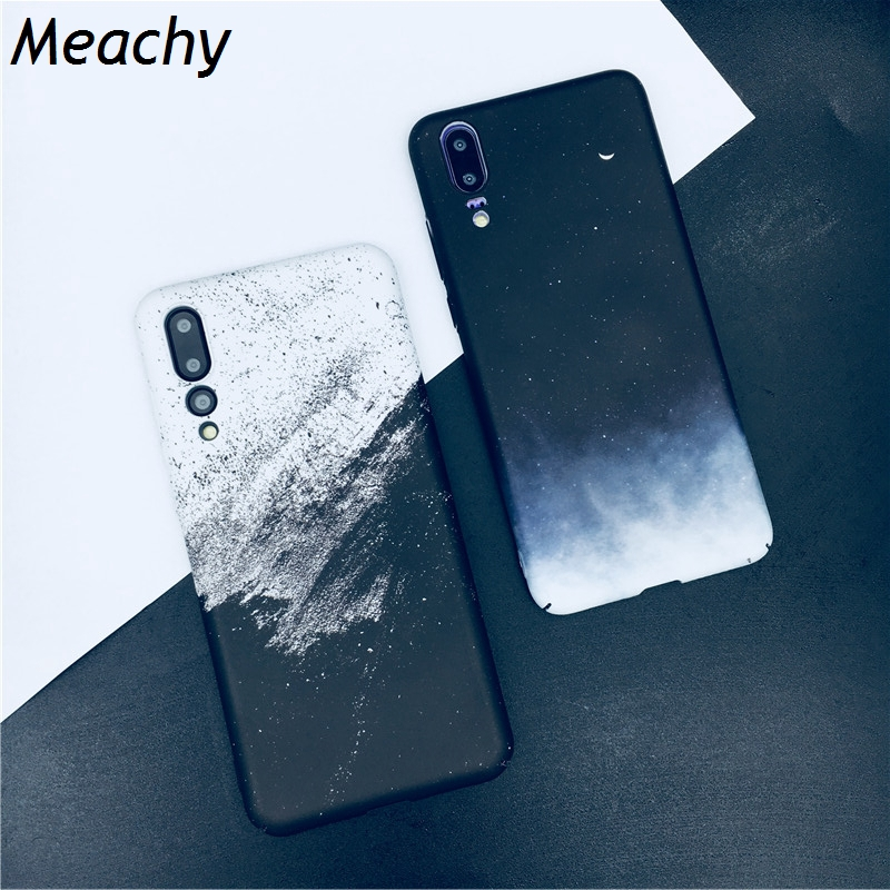 Meachy Sand Paint Simple Phone Case For Huawei P20 P30 Pro Lite Honor V20 V10 10 Lite 9 9i 8X Mate 20 Pro Hard White Black Cover image