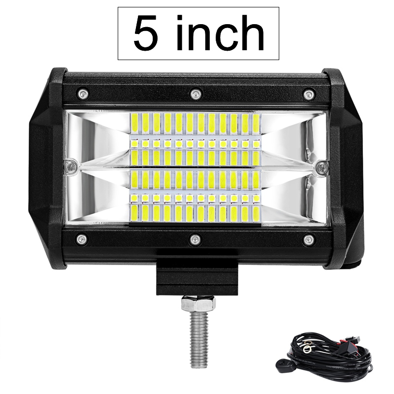 "2X 7/"" 72W LED Light Bar Driving Spot Lamp 3row 7200LM 7D Tri-row 4WD Boat Truck"