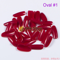 500pcs/pack Wine Red French Oval Nail Tips Full Cover False Nails Acrylic Fake Nail Tips Unghie Finte Artificial Acrylic Nails