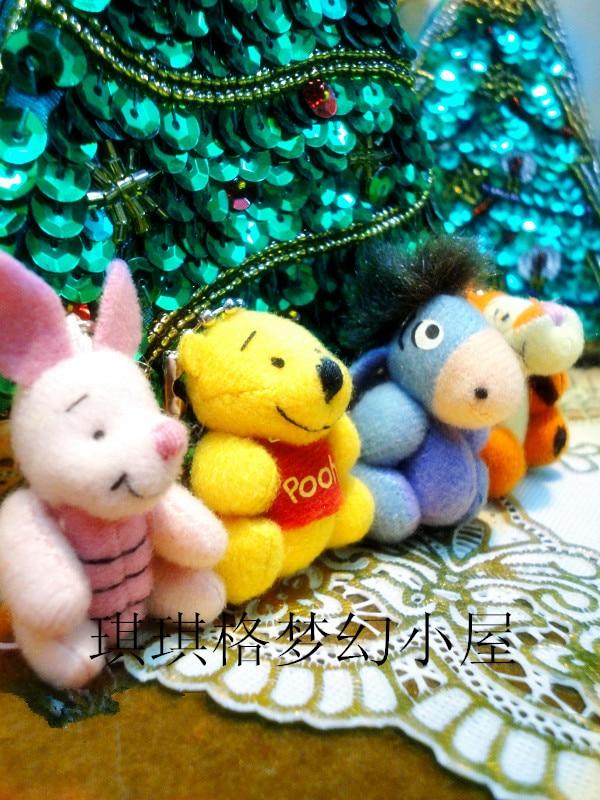 4cm Cute Mini Piglet Pig Bear Eeyore Donkey Plush Toy Mobile Phone Pendant Doll Birthday Gift