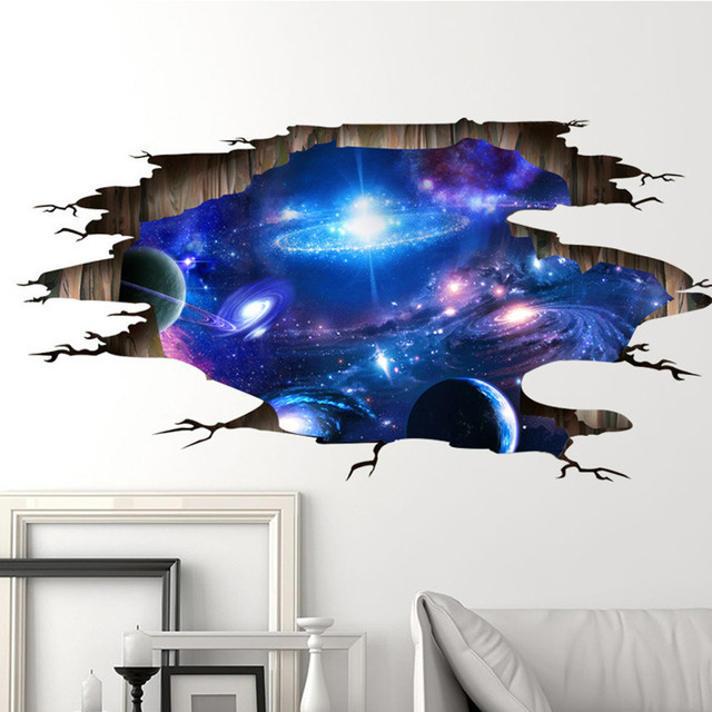 Oujing Universe Galaxy 3D Ceiling Wall Stickers Vinyl DIY Wall Decals for Kids Rooms home Kindergarten & Oujing Universe Galaxy 3D Ceiling Wall Stickers Vinyl DIY Wall ...