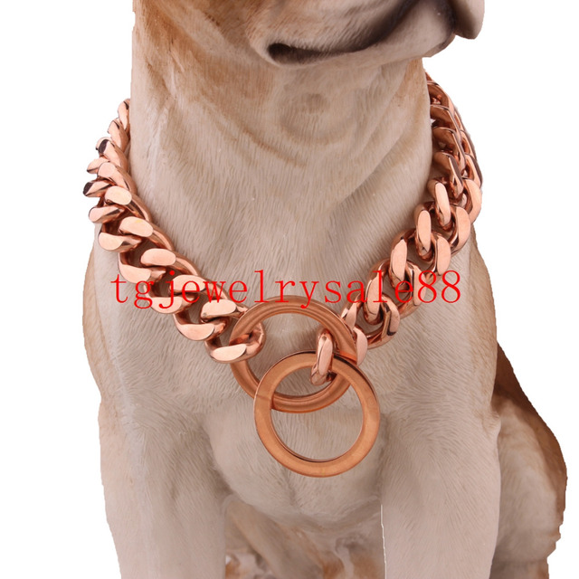 12/15mm Wide Strong Huge Rose Gold Tone 316L Stainless Steel Cuban Curb Link Chain Pet Dog Training Choke Collar 12-36inch