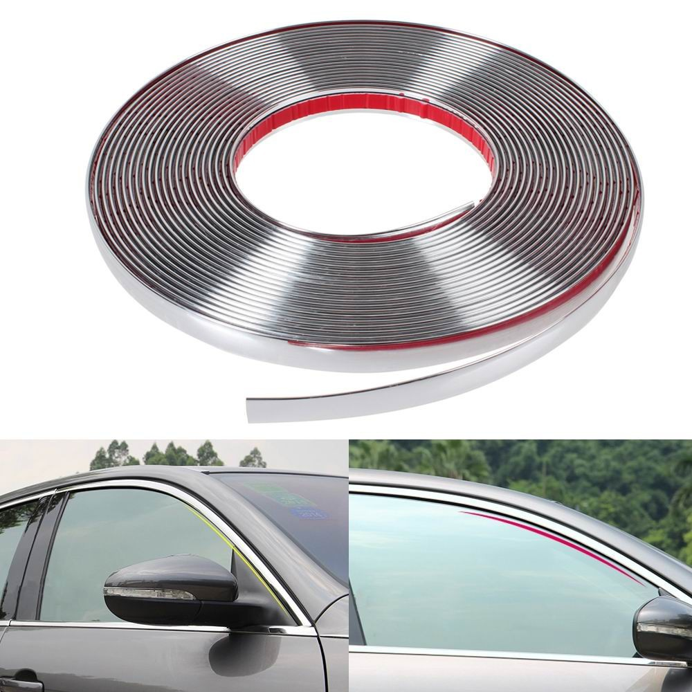 Car Chrome Body Strip Bumper Auto Door Protective Moulding Styling Trim Sticker 6MM 8MM 10MM 12MM 15MM 18MM 20MM 22MM 25MM 30MM excellent 4pcs set chrome plated door handle covers car sticker for volkswagen vw sagitar car styling door handle chrome sticker