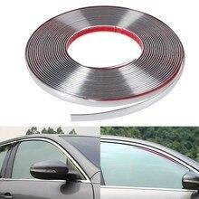 Tira de parachoques cromado para coche, moldura protectora para puerta y ventana, pegatina embellecedora Flexible de 6MM, 8MM, 12MM, 15MM, 20MM y 30MM, 13M