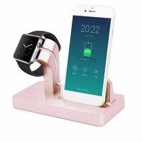 2 in 1 Desktop Stand Station Cradle Opladen USB Charger Dock voor iPhone 6 6 S 7 7 Plus 5/5 S/5C/5E Voor iWatch Beugel