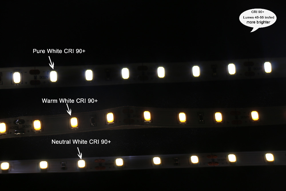MARSWALLED 1M High CRI90+ LED Strip Light SMD5630 Super Bright Warm White Neutral White Daylight White Pure White Non-waterproof