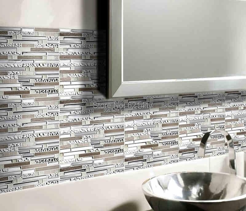Piedra gris con acero inoxidable azulejos de mosaico de vidrio ...