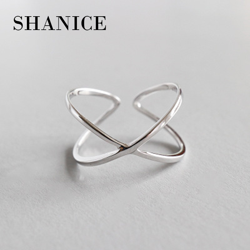 SHANICE Trendy 925 Silver X Hollow Cross Open Ring Fashion Contracted Simple Adjustable Finger Jewelry For Women Girls Praty