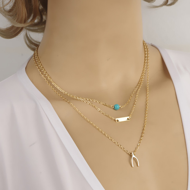 488f5fdc2daa Últimas llegada lindo deseo collar capas elegantes collar adolescente capa  de oro joyería muy moda N2134