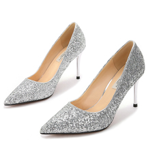Dropshipping New Fashion Pumps Shoes Women High Heel Shoes Summer Autumn Pointed Toe Metal Sequin Thin Heels Casual Pumps F0009 ms noki denim 10cm heel metal decoration soft pumps good quality women shoes summer 2017 fashion casual shoes for girls hot