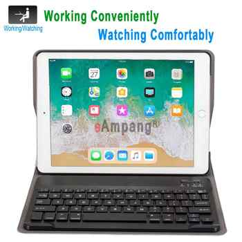English Russian Spanish Keyboard Case for Apple iPad 9.7 2018 2017 Case A1822 A1893 5th 6th Generation Bluetooth Keyboard Cover