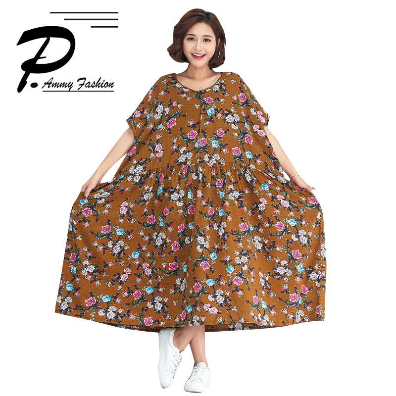 7d5f9fdd6c1 Women s Cotton Linen Plus Size Vintage Print Mid-Long Dress Lagenlook Lady  voguees buykud 2018 Summer