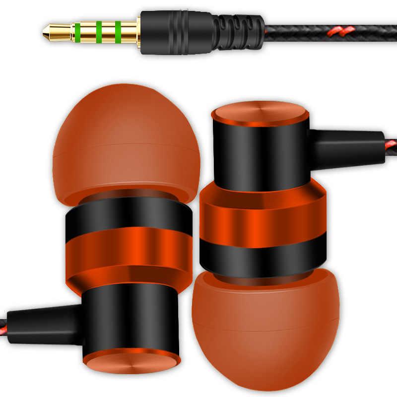 جديد 3.5 مللي متر باس ستيريو السلكية سماعة في الأذن الرياضة الموسيقى سماعة المعادن PC الهاتف الذكي MP3 TSFH