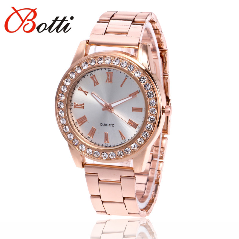 311435f5c6ab9 New Fashion Roman Rhinestone Watch Women Luxury Brand Stainless Steel Bracelet  watches Ladies Quartz Dress Watches