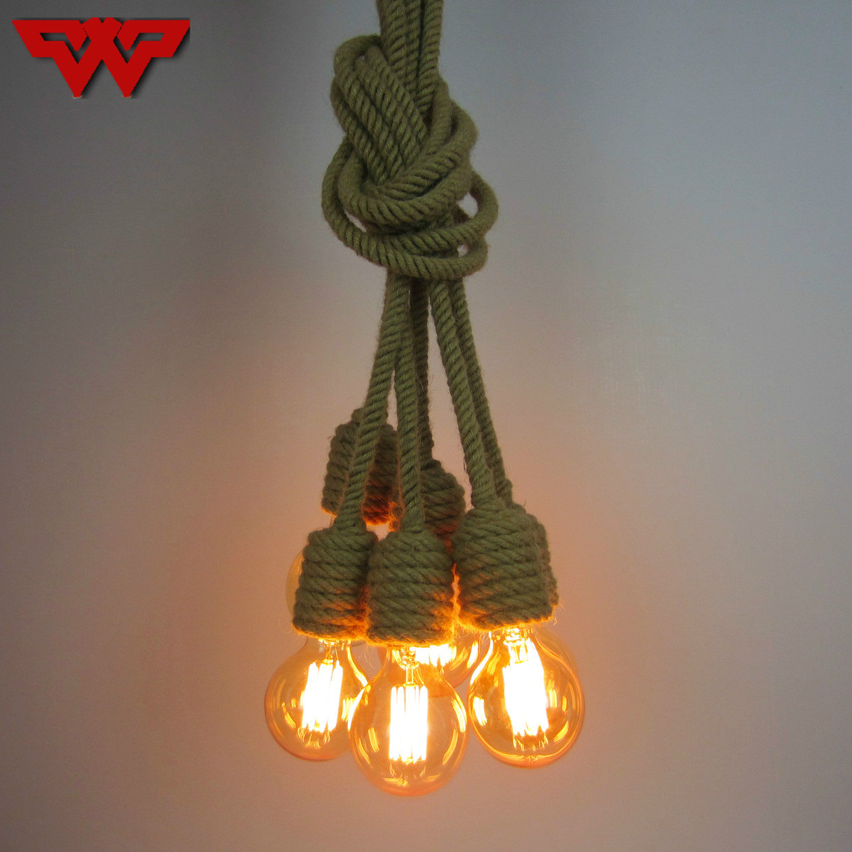 Retro Hemp rope chandelier Restaurant coffee shop bar creative industrial style Hemp rope chandelier with 6/8Lights european rural bird marble hemp rope chandelier cafe restaurant corridor balcony chandelier size 33 38cm e27 ac110 240v