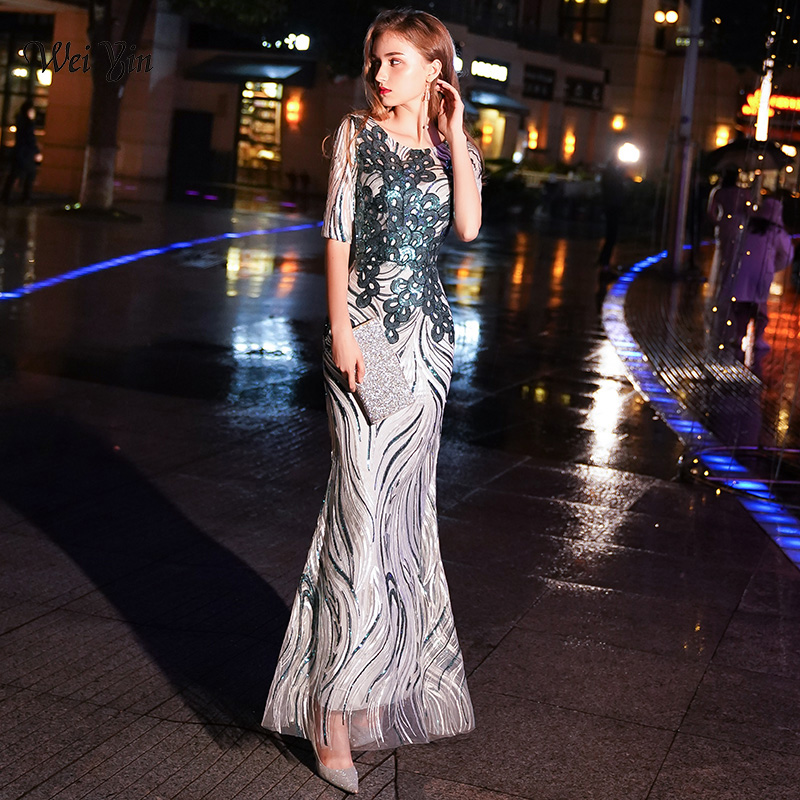 weiyin Robe De Soiree Longue O-neck Little Mermaid Green Sexy   Evening     Dresses   Sequined Sparkle Party Gowns WY1117