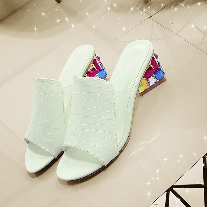 Zapatillas Con Zapatos Gran De Verano Las Moda blanco Mujeres Sandalias Pescado Gruesa Mujer 2016 Boca Rhinestones Nuevo Tamaño Y Rojo 6ABfSFXcE