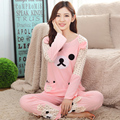 Весна Осень Хлопка с Длинными рукавами Женщин Rilakkuma Pajama наборы пижамы Девушки Мультфильм медведь пижама suitsTracksuit M L XL XXL XXXL