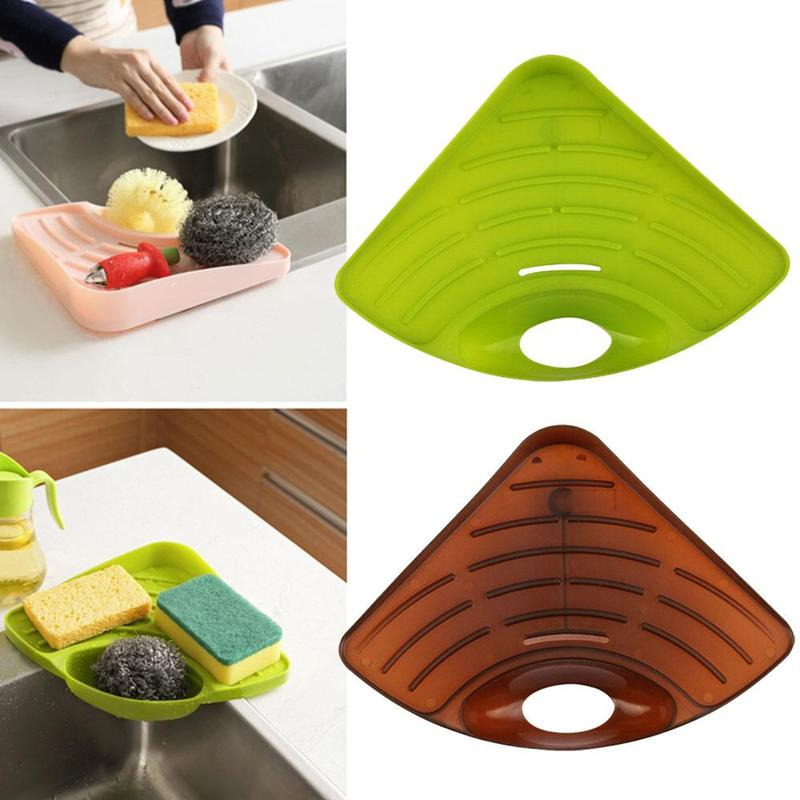 1pc Kitchen Sink Drainer Multifunctional Practical Storage Rack For Cleaning Sponge Stand Hollow Drainer Dishwasher Drain Rack