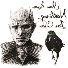 Vattentät Tillfällig Tattoo Sticker Game of Thrones White Walkers Crow Bird Jon Snow Tattoo Flash Tatoo Fake Tattoo for Men
