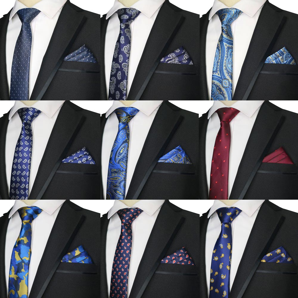 2019 New Skinny 6CM Men's Tie Handkerchief Polyester Necktie Paisley Floral Stripes Jacquard Woven Man Narrow Ties Wedding Party