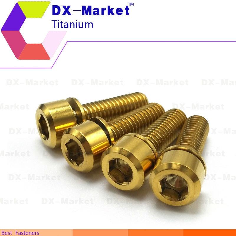 m6*25 , 6pcs/set , Gold color , M6 Titanium hex cap screw with washer , DIY meiric bolt Electric vehicle accessories