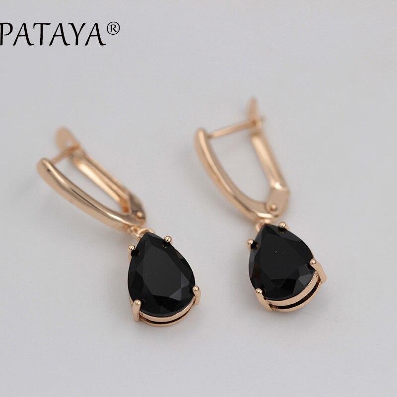 PATAYA Colorful Water Drop Earrings 585 Rose Gold Natural Zircon Eardrop Jewelry Women Vintage Hanging Long Chandelier Earring