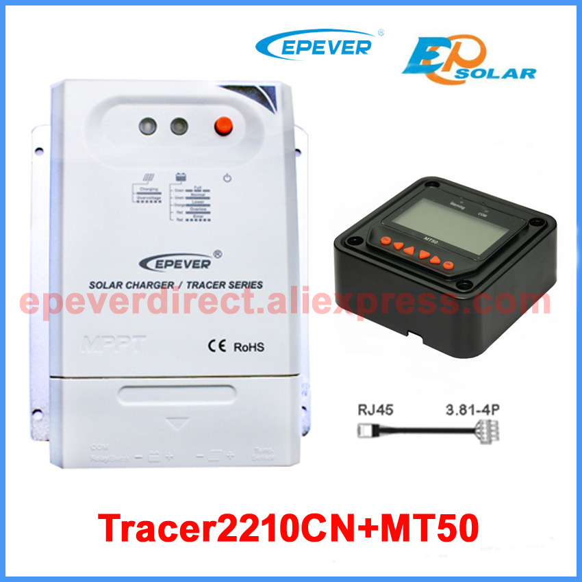 12v 24v auto work mppt EPsolar 20A solar battery charge controller Tracer2210CN+MT50 remote meter tracer mppt 30a solar charge controller lcd12 24v solar panel solar regulator epsolar gel battery option with remote meter mt50