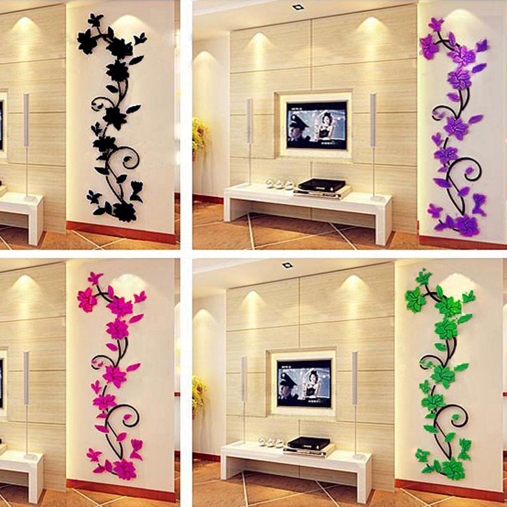 PVC Removable Peony Flowers Wall Stickers DIY Art Vinyl Wall Decor ...