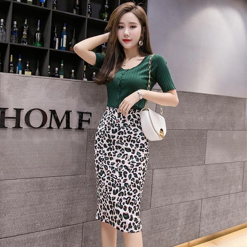 Damska Leopard spódnica ołówkowa drukuj wysokiej talii Bodycon graficzne spódnice pani lato Sexy szczupła japonia Spodnica Falda kobieta SP616 1
