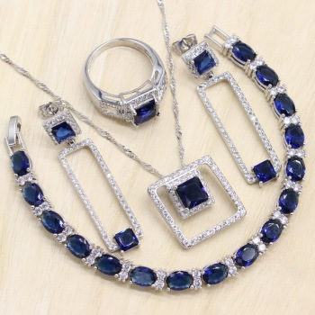 Rectangle Blue Cubic Zirconia  925 Sterling Silver Jewelry Sets For Women Earrings/Pendant/Necklace/Bracelet