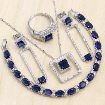 Rectangle Blue Cubic Zirconia  925 Sterling Silver Jewelry Sets For Women Earrings/Pendant/Necklace/Bracelet