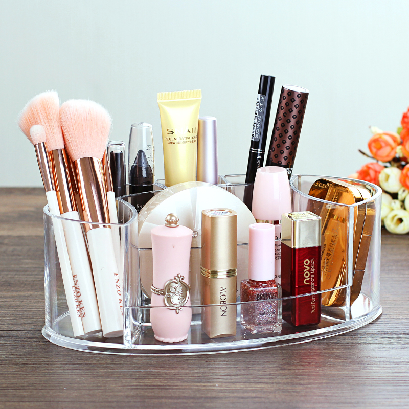 Tabletop Transparent Makeup Organizer Made of Acrylic for Storage of Lipstick Makeup Brush Nail Polish and Cosmetics of Women