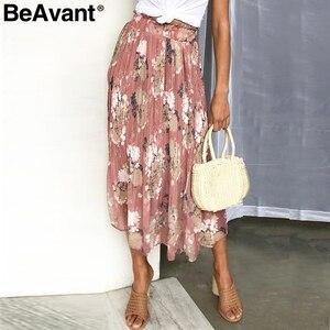 Image 5 - Beavant saia plissada longa com estampa floral, feminina, para férias, praia, chiffon, verão, estilo boêmio, solto
