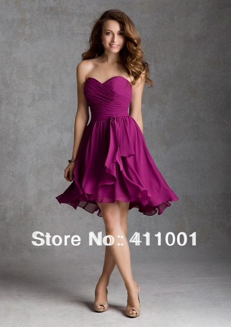 Lila Strapless Tea-Length Chiffon Sweetheart Bridesmaid Party Dress Summer  Dress with Sash All Sizes 8974224a94c1