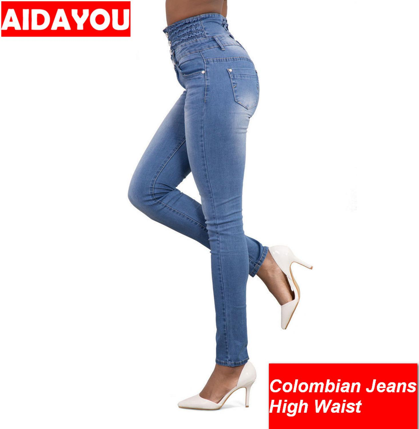 Colombian Jeans Butt Lifting Skim Fit Colombianos Levanta Cola Fit Stretchy Jeans High Waist Plus Size & Junior  Ouc450