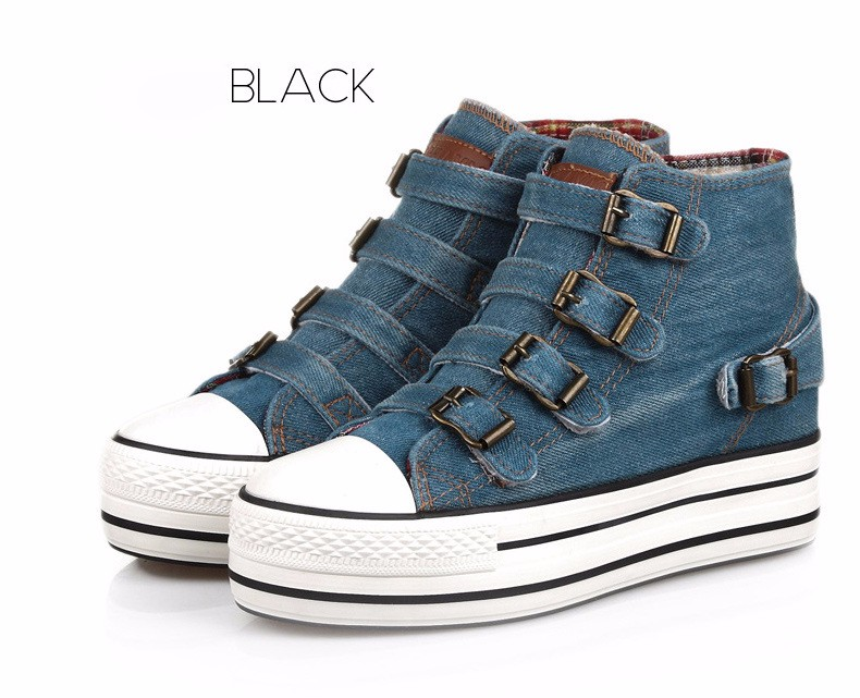 High Top Women Denim Shoes Espadrilles 2016 Fashion Autumn Hide Wedges Canvas Womens Shoes Lace Up Casual Shoes Sapatilha YD135 (34)