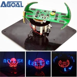 Image 1 - DIY dwuosiowy sferyczny obrotowy zestaw LED kreatywny POV lutowania zestaw treningowy