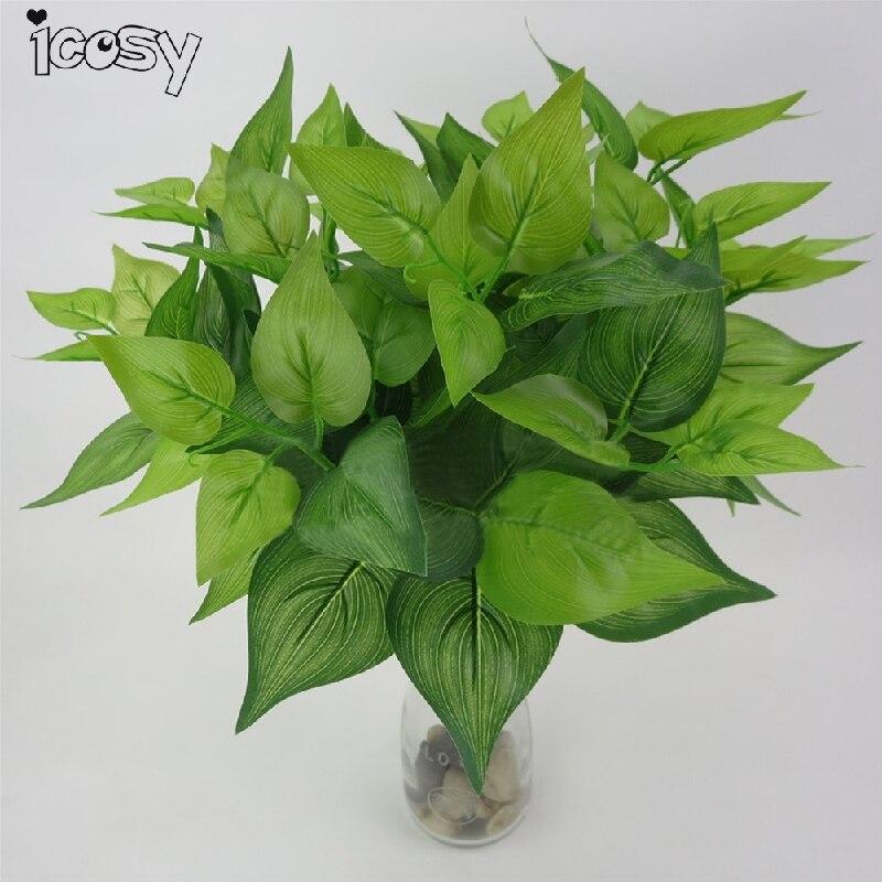 Real Touch Scindapsus Leaf Umělé rostliny Decoritive Flower Zelená Falešné listy Listoví Office House Vnitřní dekor Drop Shipping