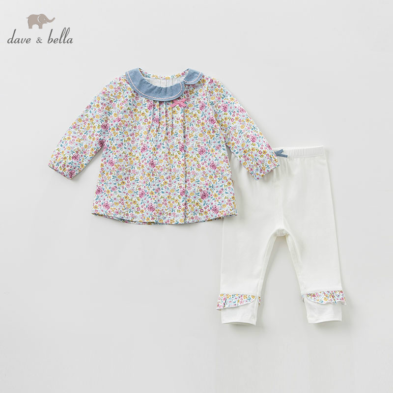 DBJ9671 dave bella spring baby girl fashion clothing sets girls lovely long sleeve suits children floral print clothes