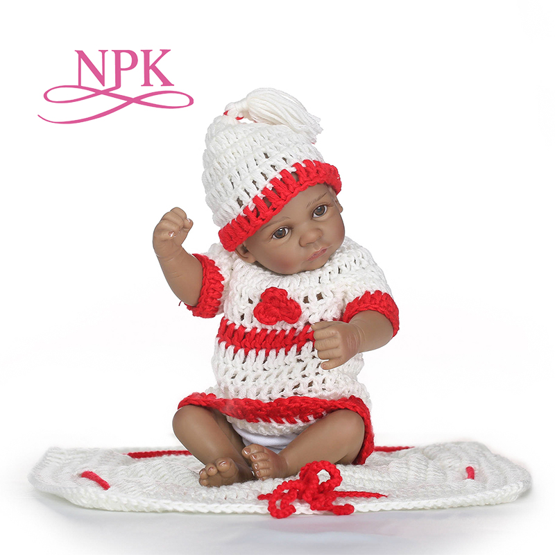 NPK newborn cute small 12inch soft silicone vinyl real soft gentle mini reborn baby doll Christmas gift toys on birthday