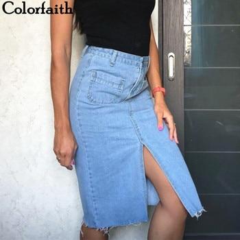 Casual Straight Denim Midi Skirt