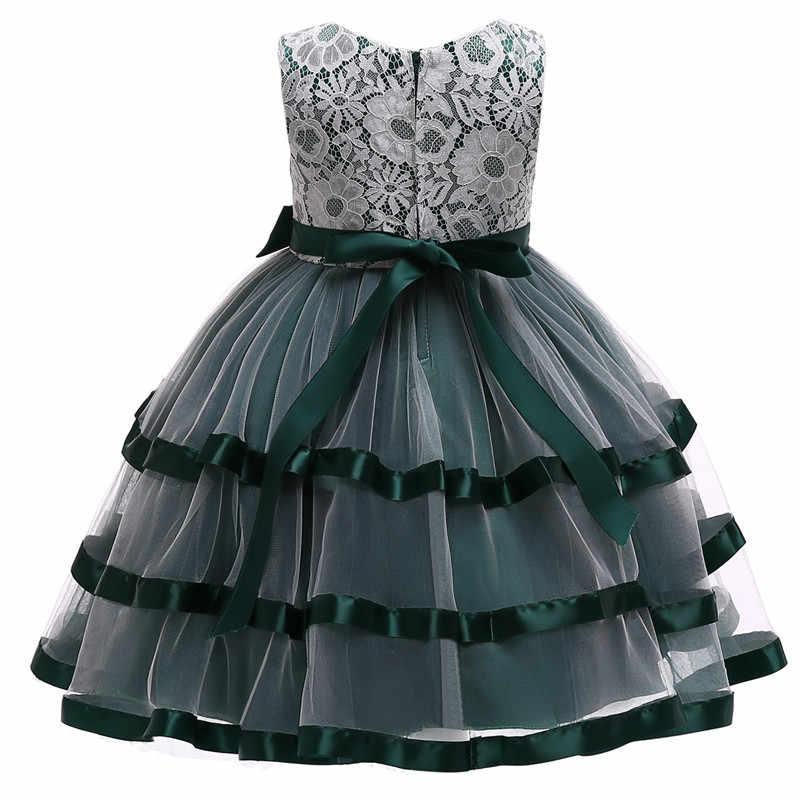 Рождественское платье кружевные платья с цветочным узором для девочек, для свадебной вечеринки, шелковое платье принцессы с бантом детское Новогоднее платье