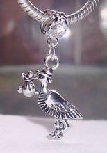 Hot ! 1pcs Ancient Silver Stork New Baby Pregnant Expecting European Dangle Beads fit Charm Bracelet 38x21mm ZHZ108 цена и фото