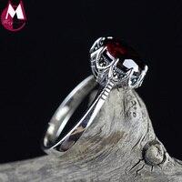 12 ملليمتر الأحمر العقيق الحجر الطبيعي تسعة مخلب شخصية خاتم الزفاف للنساء خمر جولة فضة 925 مجوهرات أنثى 2018 جديد SR75
