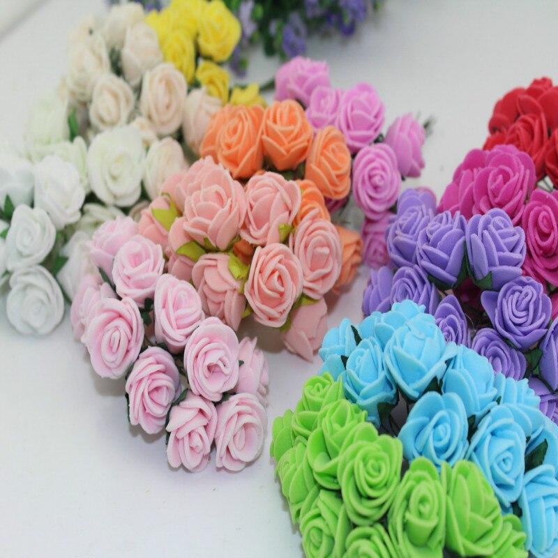 PE Rose шт. см 2 см розы многоцветные искусственные 144 пены мини букет цветов сплошной цвет свадебные принадлежности украшения дома