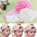 Lovely Baby flor Lace Bow Headband Headwear faixa de cabelo menina infantil criança acessórios de cabelo crianças enfeite de cabelo 3 cores 006
