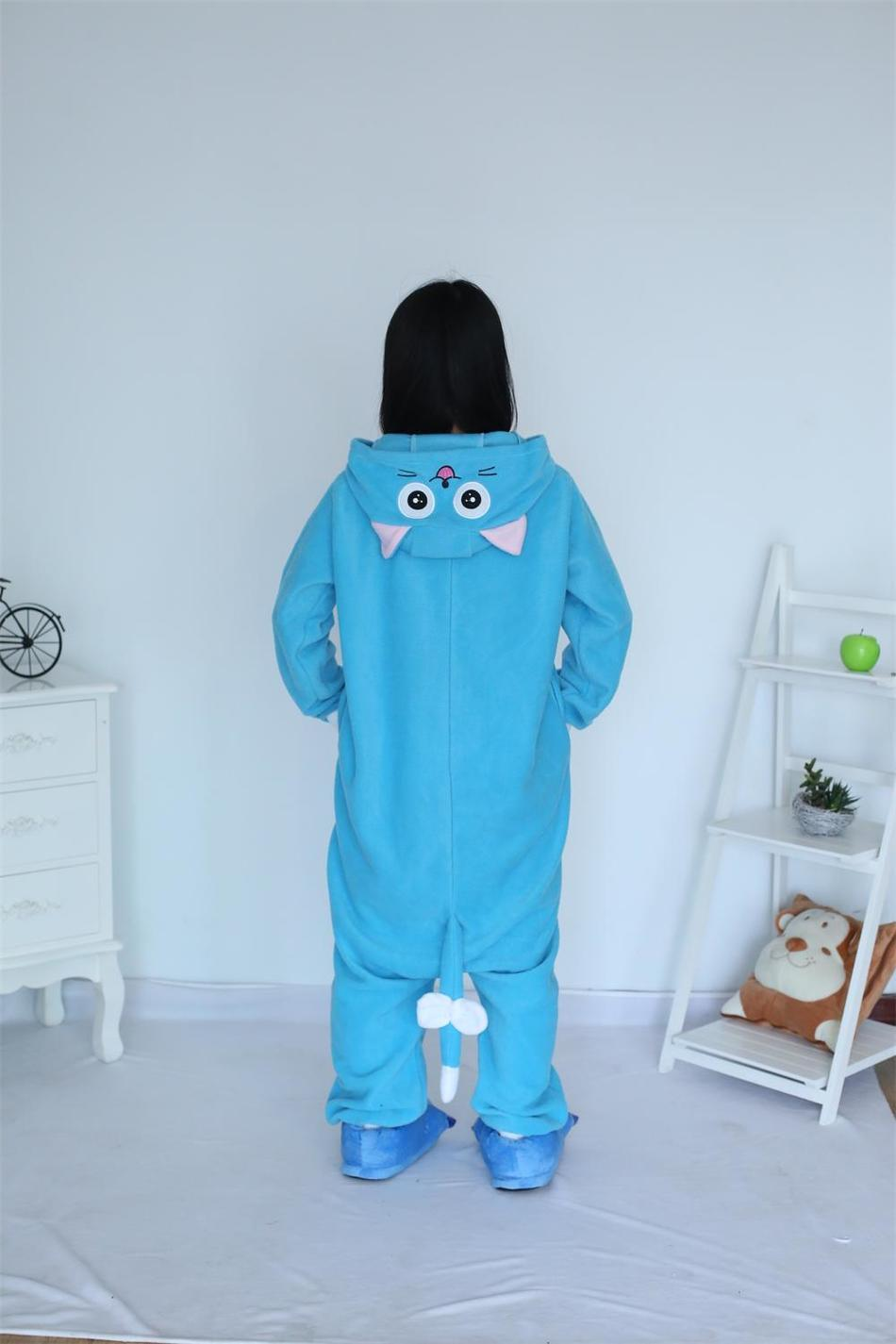 Kigurumi Cartoon Animal Blue Happy Cat Onesie Unisex Adulto Pijamas - Disfraces - foto 5